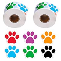2 Roll of 1000 Pieces Colorful Paw Print Stickers Dog Paw Labels Stickers Bear Paw Print Labels,Paw Print Gift Bags Paper Paw Print Goodie Bags Dog Gift Bags Cat Treat Bags 1.5 Inch (Mixed 6 colors)