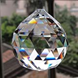 Pindia Crystal Fengshui Clear Crystal Hanging Ball for Good Luck and Prosperity (3 cm x 3 cm x 3.5 cm, Multicolour, Set of 2)