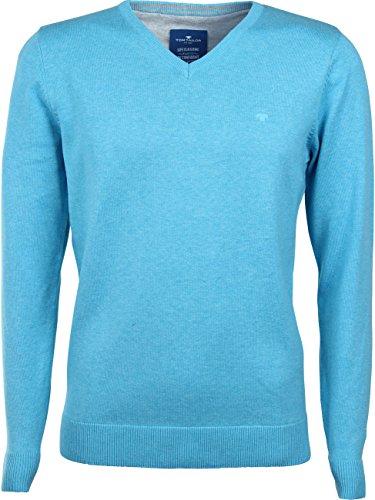TOM TAILOR Basic V-Neck Sweater, Pull Homme River Blue Melange (6970)
