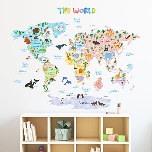 Decowall DLT-1615 Mapamundi Animales Vinilo Pegatinas Decorativas Adhesiva Pared Dormitorio Salón Guardería Habitación Infantiles Niños Bebés
