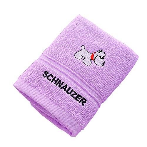 Homeofying Badetücher für Kinder, Cartoon-Welpen, Pudel, Baumwolle, super weich, wasserabsorbierend, für Sport, Laufen, Reisen, Geschäftsreisen, Hotel, violett