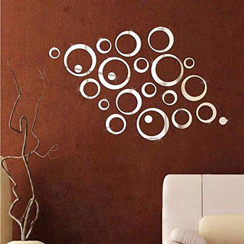 Vinilo de pared vintage espejo plata 24 circulos decoracion salon, dormitorio..