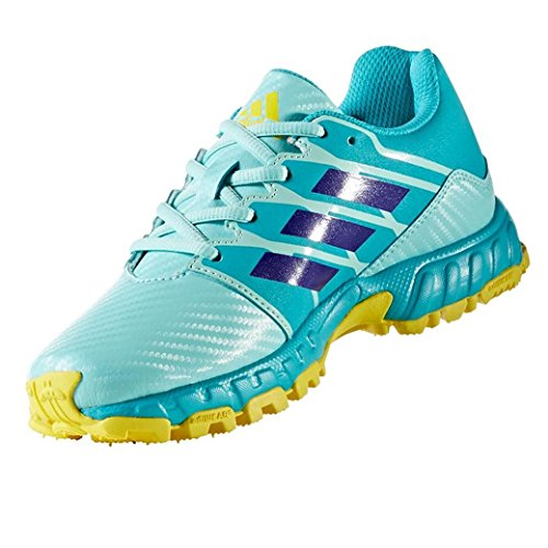 Adidas Junior Field Hockey Shoes Kids Turf Trainers (3 UK, Aqua/ Yellow)