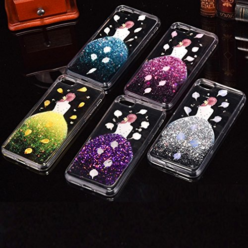 Für iPhone 7 Plus Epoxy Dripping gepresste echte getrocknete fallende Blumen Glitter Powder Girl Soft TPU Schutzhülle Back Cover DEXING ( Color : Magenta ) Silver