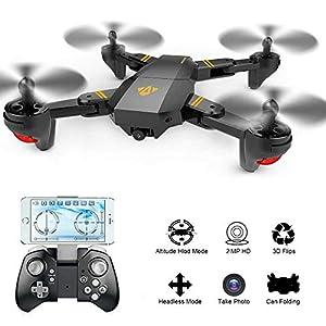 AMILE Drone cuadricóptero RC Plegable con 2 MP, ángulo de 120°, dron cuadricóptero Plegable con cámara WiFi de 720P, Sensor de Gravedad