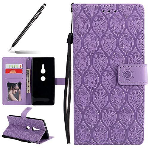 Uposao Hülle Kompatibel mit Sony Xperia XZ2 Handyhülle, Retro Blumen Handytasche Bookstyle Klappbar Flip Case Brieftasche Lederhülle Leder Handy Schutzhülle mit Magnetverschluss,Lila
