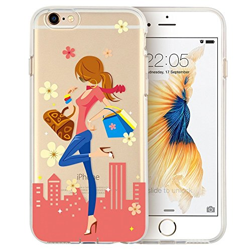 iPhone 6s Case, iPhone 6 Case, Walmark Soft Gel TPU Silicone Case Clear with Design Cute Cartoon Slim Fit Ultra Thin Protective Cover for 4.7 inches iPhone 6 /iPhone 6s_Top Girl