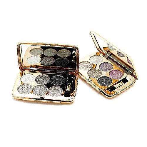 Ucanbe 6 Color Diamon Flash Shimmer Glittering Eyeshadow Palette Dramatic Eye Makeup Kit,No.2