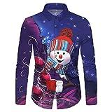 Xmiral Shirt Herren Tasten Langarm Stehkragen Gedruckte Tops Persönlichkeit Lustig Große Größe Anzughemd Beiläufig Sweatshirts (Violett 1,XXL)
