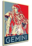 """Poster Saint Seiya """"Propaganda"""" Gemini Saga - Formato A3 (42x30 cm)"""