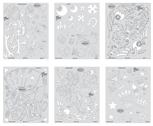 Unbekannt IWATA Artool Freehand Airbrush Vorlagen, Kustom Kulture Baseball-Kappe Mini Serie (Stencil Set Template Airbrush)