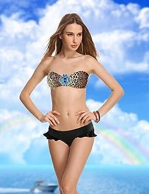 De VBM Marca Para Mujer Leopardo Diamond Crystal Retro Bandeau Bikini Beachwear atractivo del traje de Biquinis