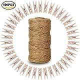 Lot de 100pinces à linge en bois naturel avec ressort Papier Photo à pinces à linge en bois Mini Pinces Craft Pinces à linge avec 300pieds Ficelle en jute naturel pour les arts & Crafts DIY Décorations