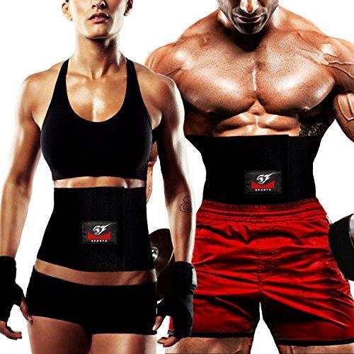 Bauchgurt Abnehmen Taille Trimmer Gürtel, Sport Reduzierung Gürtel für Damen und Herren, Schwarz, Universalgröße bis 120 cm taille