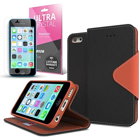 Cellto Apple iPhone 5C Black/ Brown Diary Wallet Case w/ Stand & Screen Protector