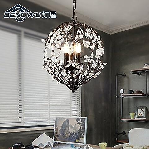 MSAJ-American alloggiamento lampada lampada soggiorno sala da pranzo Camera da letto portico scale mediterraneo orientale Nordic-style ferro battuto vigne lampadario di cristallo 330*430mm , nero