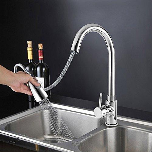 Preisvergleich Produktbild Wasserhahn ICOCO 360°Schwenkbereich Einhebel Wasserhahn Küchenarmatur Einhandmischer Spüle Küche mit herausziehbarem Brausekopf Armatur