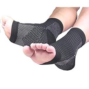 PicuMed FERSENSPORN Bandage Kompressionssocken Fußbandage bei Plantarfasziitis zur Schmerzlinderung bei Knöchelschmerz Schwellungen für Damen/Herren (1/2 Paar) schwarz oder weiß