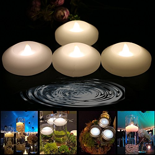Wachs LED Schwimmkerzen – Wachs Wasserdicht Kerze Teelicht flammenlos batteriebetrieben Floating On Water LED Schwimmende Kerzen für Hochzeit  Restaurant Dekoration & Candlelight Dinner, Warmweiß, Floating-Warmwhite