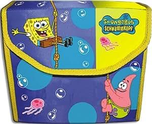 Kinderfahrrad-Doppelpacktasche -Sponge Bob-blau mit bunten Motiven