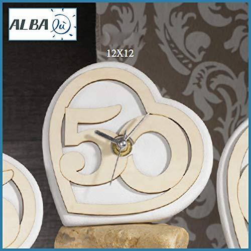 Albalù bomboniere orologio 50 anniversario matrimonio nozze d'oro a forma di cuore con numero 50