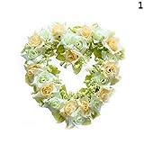 Golden Lank Artificial Flower Wreath Herzform Seide Rose Kränze Garland für Hochzeit Dekoration (Weiß)