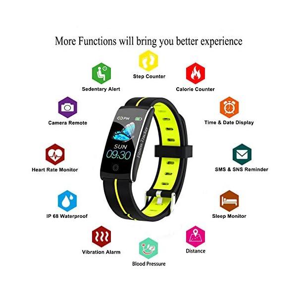 Wysgvazgv Fitness Tracker Reloj pulsera Activity Tracker pulsómetro de muñeca monitor del sueño presión sanguigna IP68… 3