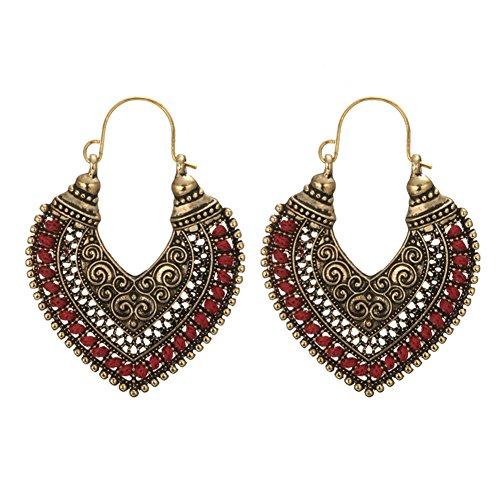 Yibenwanligod retro boemia lega hollow out cuore incisione orecchini donna gioielli gift e lega, colore: red, cod. 42300