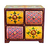 Casa Moro Orientalische Mini-Kommode Näh-Kästchen aus Holz | Schminkkasten mit 4 Schubladen | Handbemaltes Apothekerschränkchen Ashanti