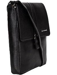Genuine Leather Sling Bag For Men - Cosmus Florida Black Leather Bag For IPad