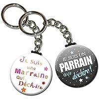 Duo lot de 2 Porte Clés Chaînette 3,8 centimètres je Suis un Parrain Une Marraine qui Déchire Idée Cadeau Accessoire…