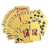 Efanty Blattgold Poker Spielkarten Plastik Pokerkarten mit 24K Goldfolie Poker, aufwendig Aussehen - Hoch Qualität für Ihr Poker Vergnügen