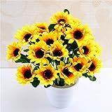 Fleurs artificielles et séchées - 1 bouquet de 9 têtes de tournesol jaune...