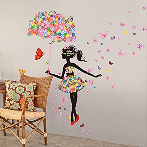 Meihuida Magic Fairy Sketch Bright Color Flower Butterfly Lively Wall Sticker For Room Decoration
