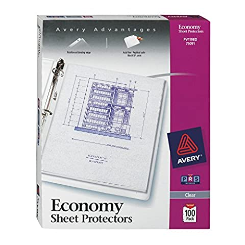 Top-Load Poly Three-Hole Sheet Protectors, Economy Gauge, Letter, 100/Box
