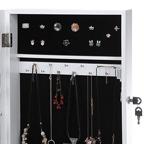 Songmics Hängend Schmuckschrank Wandspiegel zum Hängen mit Tür und Magnetverschluss weiß JBC51W - 5