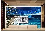 LHDLily Wand Stricker Dunkelblaue Strand Landschaftsbetriebswohnzimmer Schlafzimmer TV Sofa Hintergrund Wand Landschaft Der 3D Tapete Wandgemälde Wandbild 300Cmx200Cm|(118Inx78In)