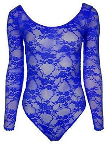 Sheer Sofias Schrank Damen Body/Einteiler aus Spitze, U-Ausschnitt langärmelig, Netz-Farben Blau - Königsblau