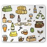 Tappetino per mouse per birra, birrificio disegnato a mano pub per alcolici boccale di birra bottiglia di vetro orzo di grano Doodle, rettangolo tappetino in gomma antiscivolo