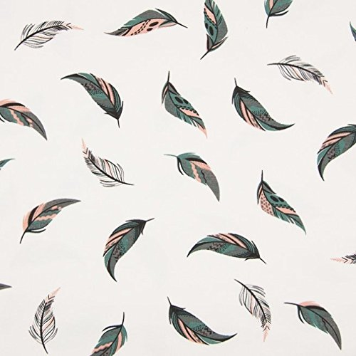0,5m Jersey Federn Feathers Rosa-Grau-Petrol auf Weiß Motivgröße ca. 5,5cm - Zick-zack-federn