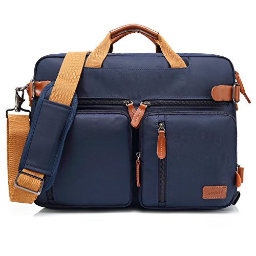 CoolBell umwandelbar Aktentasche Messenger Bag Umhängetasche Laptop Tasche Business Backpack Bag Multifunktions Reise Rucksack Notebook Schultertasche Passend für 17 Zoll Laptop/Herren/Damen(Blau) -