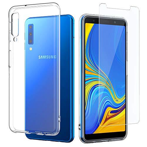 EasyAcc Hülle Case Für Samsung Galaxy A7 2018, Panzerglas 9H Schutzfolie + Crystal Clear Transparent Handyhülle Cover Premium-TPU Durchsichtige Schutzhülle Für Samsung Galaxy A7 2018/A750