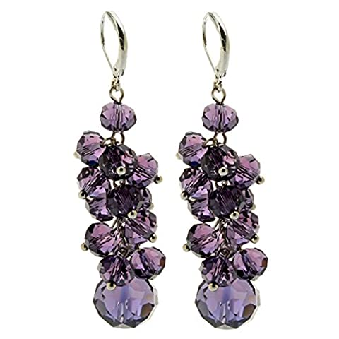 Ginasy Spring Colorful Cluster Glass Beads Dangle Earrings (Purple)