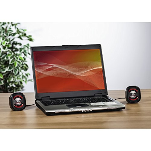 Hama PC Lautsprecher Sonic Mobil 183 (USB 3.0, 3,5 mm Klinke, 3 W, aktive Boxen für Computer, Laptop, Notebook, Smartphone, Tablet) schwarz/rot - 3