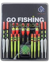 Sannysis® 15 piezas de diferentes tamaños de lote Pesca Lure flotadores anzuelos Slip Drift Tubo