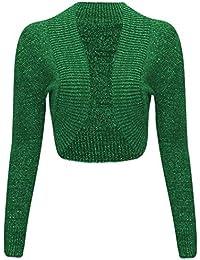 Womens Filles manches longues en tricot métallique lurex Boléro Boléro Cardigan