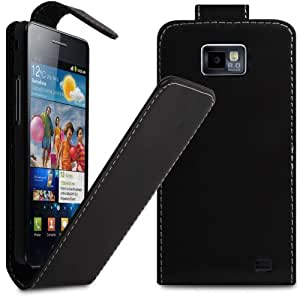 iGloo Premium: Leather Flip Case Cover For Samsung i9100 Galaxy S2 / S II / 2 with Free Screen Protector - Black
