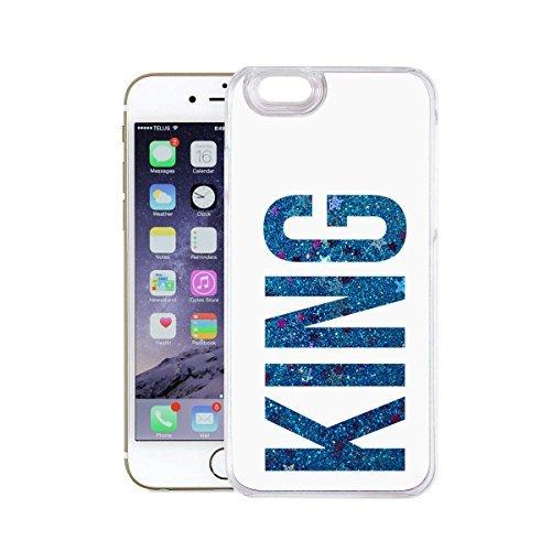 finoo | Iphone 6 Plus / 6S Plus Flüssige Liquid Blaue Glitzer Bling Bling Handy-Hülle | Rundum Silikon Schutz-hülle + Muster | Weicher TPU Bumper Case Cover | Elefanten Schaukel Hase King White