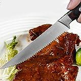 Deeplee AKZIM 6-teilig Steakmesser Set, 23 cm Edelstahl Steakmesser mit Ergonomischem Griff und Fein Gezahnte,Geschenkbox - 7