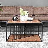 Aingoo Industrial Couchtisch Quadrat Geformter Cocktail Tisch für Wohnzimmer, Home Office Möbel mit Ablageboden Brown